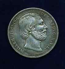 NETHERLANDS WILLIAM III  1864  2 1/2 GULDEN SILVER COIN, XF