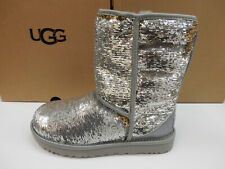UGG Womens Classic Short Cosmos Sequin Silver Gold 9