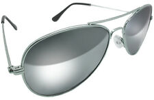 AVIATOR MIRROR SUNGLASSES CHROME SILVER REAL GLASS LENS 70s RETRO POLICE STYLE
