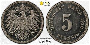 Scarce 1910-A Germany Empire 5 Pfennig PCGS PR63CAM 2nd Top Finest !