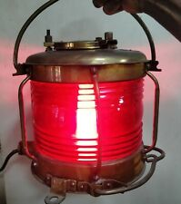 Vintage marine ship brass electric lamp made in japan red glass lot of 1 piece