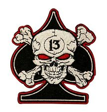 Skull Crossbones On Spade Patch Biker Badge Symbol Embroidered Iron On Applique