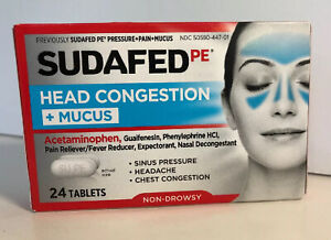 NEW SEALED Sudafed PE Head Congestion+Mucus 24 Tablets EXPIRES 04/2021, 05/2021