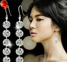 Fashion women Round Zirconia Crystal Silver Dangle Hook Earrings Bridal Jewelry