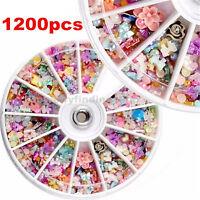 1200pcs Wheel Mixed Nail Art Tips Glitters Rhinestones Slice Decoration Manicure