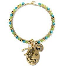 NEW Gold Tone Blue Green Beaded Hook & Eye Bracelet Good Luck Charm Make a Wish