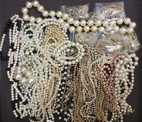 PEARL & FAUX PEARL JEWELRY MIXED LOT 3LBS 10OZ BRACELETS & NECKLACES CRAFTS ART