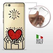 Huawei P10 Lite TPU CASE COVER PROTETTIVA GEL TRASPARENTE HARING Glitter Heart