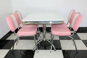 American Diner Furniture 50s Style Retro 4 Pink Chairs With A Booth Table