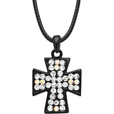 "Cross Charm Pendant Necklace - Sparkling Crystal - 16"" Chain - 5 Colors"