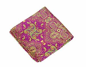 Lord R Colton Masterworks Pocket Square - Cape Horn Magenta Lime Silk - $75 New