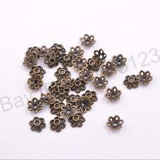 100Pcs Tibetan Silver Metal Flower Loose Spacer Beads Caps Lots 6MM M3012