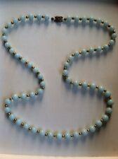 Vtg Amazing Green Jade Jadeite Art Deco Bead Necklace Sterling Silver Filigree
