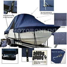 Albemarle 268 Express Fisherman WalkAround Cuddy T-Top Hard-Top Boat Cover Navy