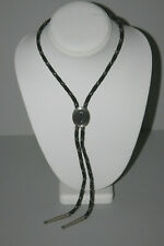 Initial Letter C Black With Silver Rope Bolo Tie ~ Swank Oval with The