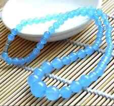 "6-14mm Brazilian Aquamarine Gemstones Round Beads Necklace 18"" AAA FF020"