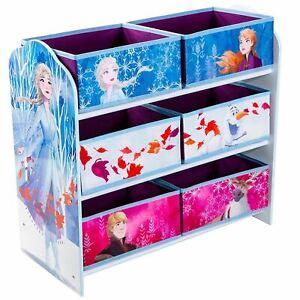 Disney Frozen 6 Papelera Almacenaje Unidad Niños Playroom Madera Marco Juguete