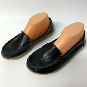 Women's Natural Comfort Walking Flat Loafer Black Size 9.5 Leather Round Toe NEW