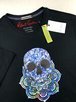 Robert Graham Skull Head Colorful Print Graphic Tee Shirt Crew Neck Black M L XL