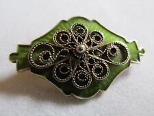 Vintage Ivar T Holth Norway green guilloche enamel sterling silver brooch Pin