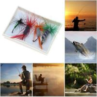 4Pcs Fly Fishing Lure Flies Hooks Feather Baits Fishing Tackle With Box Tool Kit
