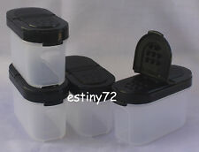 Tupperware Modular Mates Small Spice Containers Set (4) Black Seals