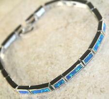 Silver Elegant Blue Fire Opal Bracelet