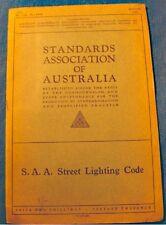 STANDARDS ASSOCIATION OF AUSTRALIA street lighting code 1939 electricity RARE++