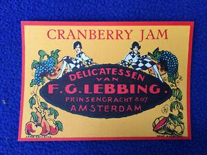 vintage ORIGINAL cranberry jam LABEL netherlands LEBBING prinsengracht AMSTERDAM
