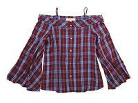 LOFT Women's - NWT$59 - Plum Currant/Blue Plaid Off-Shoulder Bell Sleeve Blouse