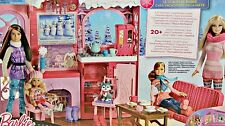 BARBIE SKI CHALET AND 3 DOLLS - BNIB