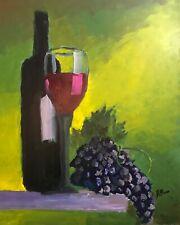 Original Impressionist Jeff Barnes 20x16 Acrylic Painting Still Life Wine Grapes