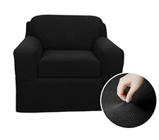MAYTEX Pixel Ultra Soft Stretch Loveseat Couch Furniture Cover Slipcover, Black