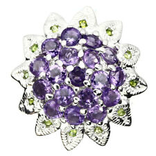GENUINE GEM Purple Amethyst Chrome Diopside 925 sterling Silver Cluster Ring 9