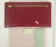 Radley Oriel Zip Purse Large Maroon Red Embossed Leather and Dust Bag New