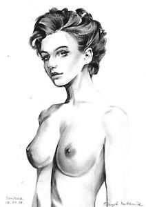 original drawing A4 108RE art samovar  Realism oil dry brush female nude