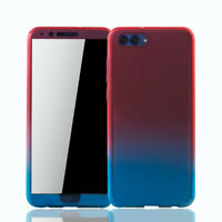 Huawei Honor View 10 Hülle Case Handy Cover Schutz Tasche Panzerfolie Rot / Blau