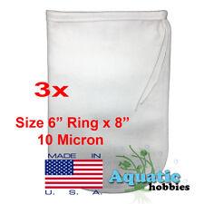 "3x Filter Bag 6"" x 8"" 10 Micron Felt Polypropylene Made in USA"