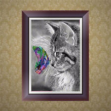 DIY 5D Diamond Embroidery Cat Butterfly Painting Cross Stitch Craft Home Decor