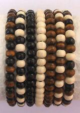 Job Lot 7 x Ladies Wooden Bead Tribal /Surfer Elastic Bracelet Black White Brown