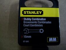 NEW  STANLEY  STUBBY  FULL  POLISH  COMBINATION  WRENCH METRIC  15 mm