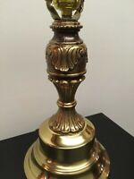 """Vintage Brass Tone Table Accent Lamp Light Gold Tone With Scrolls 20"""""""