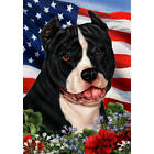 American Pit Bull Terrier Black and White Patriotic Flag