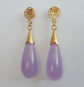 2019 Hot Purple Lavender Jade Yellow Gold Plated Fortune Stud Drop Earrings