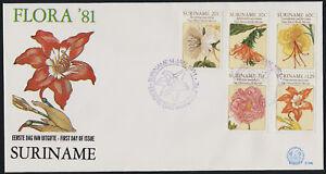 Surinam 563-7 on FDC - Art, Flowers