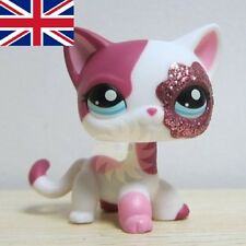 Hasbro Littlest Pet Shop Collection LPS White Pink Standing Cat Sparkle Glitter