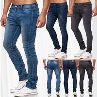 Neu Herren Sweat Slim Jeans Hose Denim Vintage Used Stone Washed Ripped