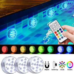 Underwater Swimming Pool Lights 13 LED Submersible Magnetic Pond Fountain Lights