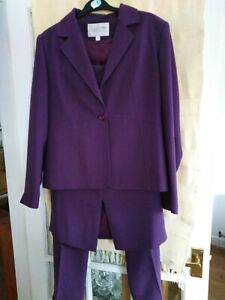Beautiful Ladies Offshoot 3 Piece Trouser And Skirt Suit Purple Size 14(909LF)