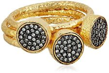 Atelier Mon Pavé Cubic Zirconia Yellow Gold Plated Stack Ring Size 8 NEW